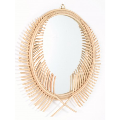 Round mirror with a laurel wreath designed frame in a natural finish