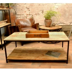 Open Coffee Table with laquered Mango Wood top and single low shelf and black painted steel frame