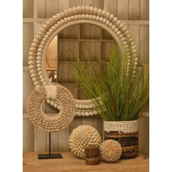 Round mirror with concentric circles of small light conch type shells on the frame